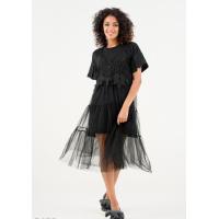 Черное платье-футболка с верхним прозрачным сарафаном с мулине