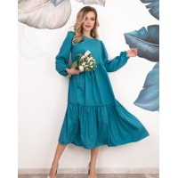 Бирюзовое платье-трапеция с рюшами