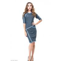 Голубое асимметричное платье из двунити со светло-серой отделкой
