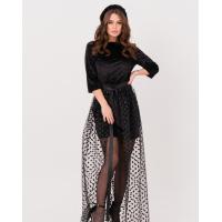 Черное велюровое платье с сетчатой съемной баской