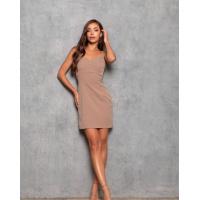 Коричневое облегающее платье в бельевом стиле