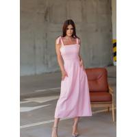 Розовый хлопковый сарафан с перфорацией и вышивкой