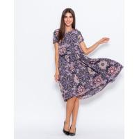 Цветное асимметричное платье с короткими рукавами