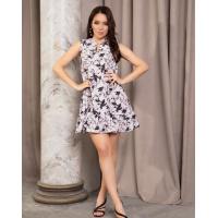 Серое платье-трапеция без рукавов