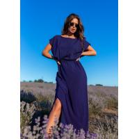 Темно-синее платье в горошек с вырезами на спинке