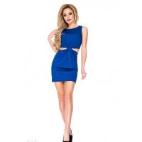 Синее платье с боковыми прорезями