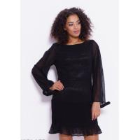 Черное шифоновое платье с плиссировкой
