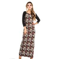 Цветочное платье в пол с кожаными рукавами