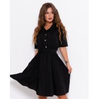 Черное приталенное платье с короткими рукавами