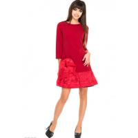 Красное платье-трапеция с присобранным краем и бантом из органзы