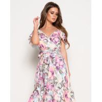 Акварельное платье на запах с воланами