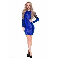 Ярко-синее велюровое платье со вставкой с пайетками