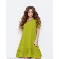 Оливковое расклешенное платье из крепдешина