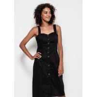 Черное коттоновое платье-футляр на бретелях с пуговицами