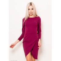 Фиолетовое платье-футляр с юбкой на запах