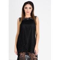 Черное кружевное мини-платье без рукавов