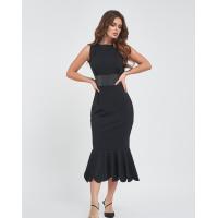 Черное платье-годе с кожаной вставкой
