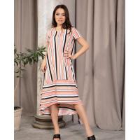 Яркое полосатое платье с разрезом