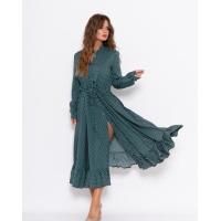Зеленое в горошек миди платье на кулиске