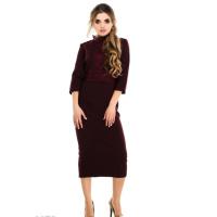 Фиолетовое платье-миди с кружевной отделкой верха