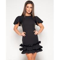 Черное платье с рюшами и рукавами-бабочками
