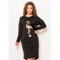 Черное трикотажное платье с карманами и нашивкой в виде фламинго