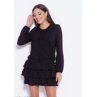 Черное шифоновое платье с рюшами и воланами