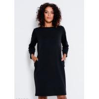 Черное трикотажное платье с длинными рукавами и карманами