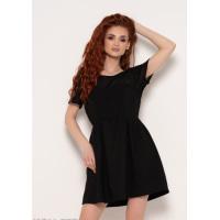 Черное приталенное платье с сетчатой вставкой