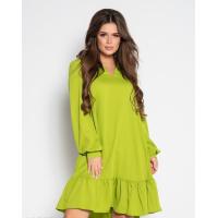 Оливковое крепдешиновое платье с воланом
