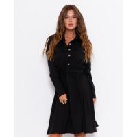 Черное платье-рубашка с длинными рукавами