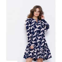 Темно-синее платье-трапеция с птичьим принтом