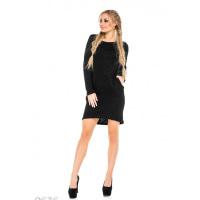 Черное меланжевое платье с карманами