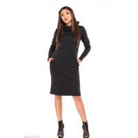 Черное демисезонное платье в мелкий цветочный принт с высоким воротом и карманами