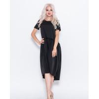 Черное асимметричное платье с рюшами