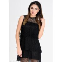 Черное кружевное многослойное платье с оборками