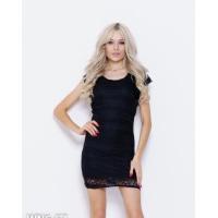 Черное кружевное нарядное платье мини длины