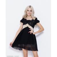 Черное шифоновое платье с золотистыми вставками