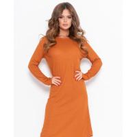 Горчичное тонкое эластичное прямое платье