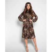 Леопардовое платье с длинными рукавами