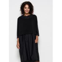 Черное комбинированное платье в стиле оверсайз с большими накладными карманами и воротником-хомутом