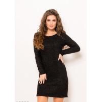 Черное платье с люрексом и длинными рукавами