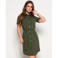Платье-рубашка цвета хаки с поясом и карманом