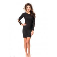 Черное мини-платье со шнуровкой на длинных рукавах