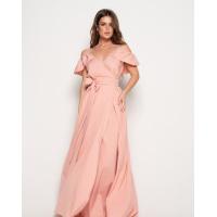 Персиковое длинное платье с открытыми плечами