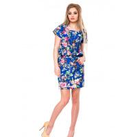 Ярко-синее свободное приталенное платье в цветочный принт