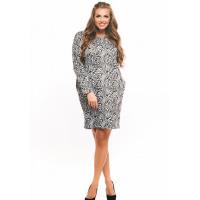Повседневное свободное платье +size с черно-белым принтом