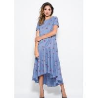 Бело-синее платье в полоску из коттона с асимметричной юбкой и вышивкой