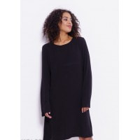 Черное платье с длинными рукавами-колоколами