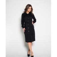 Черное коттоновое платье на пуговицах